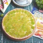 Постный тарт с пудингом и виноградом
