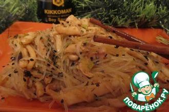 Рецепт: Кальмары острые с фунчозой