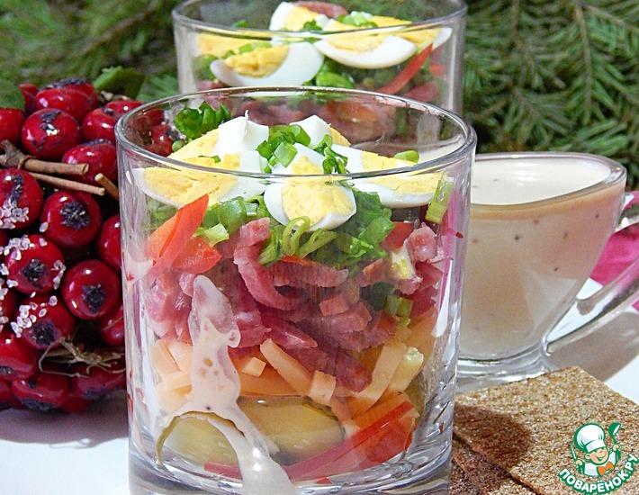 Рецепт: Салат Новогодний в огуречной заправке
