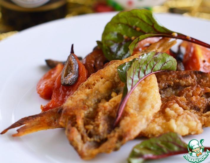 Рецепт: Барабулька с помидорами и маслинами