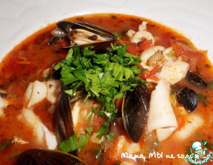 Рецепт: Томатный суп с морепродуктами Качука