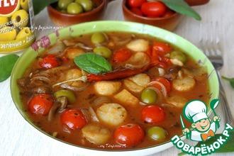 Рецепт: Морские гребешки с грибами