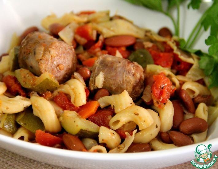 Рецепт: Жаркое из итальянских колбасок и фасоли
