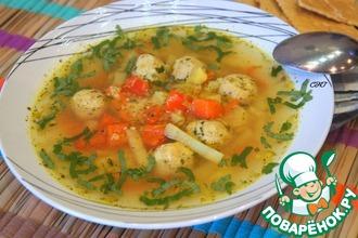 Рецепт: Пряный суп с кус-кусом и фрикадельками