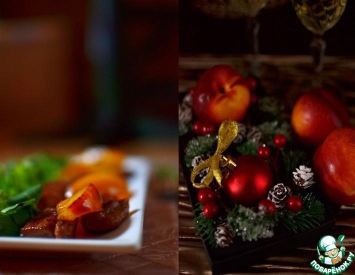 Рецепт: Тёплый салат с куриной грудкой и нектаринами