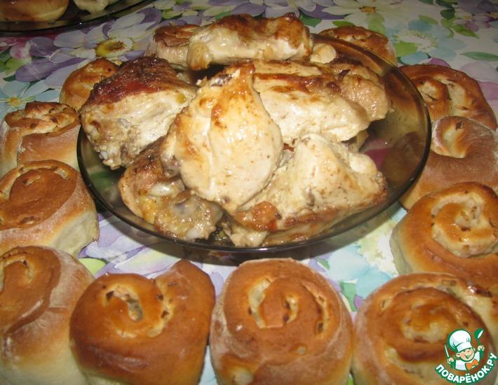 Рецепт: Курица с луковыми булками