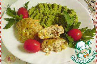 Рецепт: Куриные котлеты с кукурузой и гороховым пюре