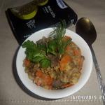 Утиная грудка, тушенная с машем и овощами