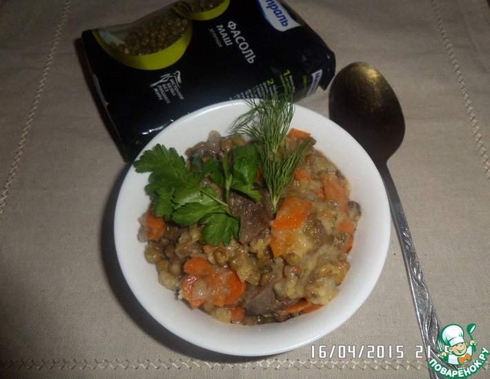 Рецепт: Утиная грудка, тушенная с машем и овощами