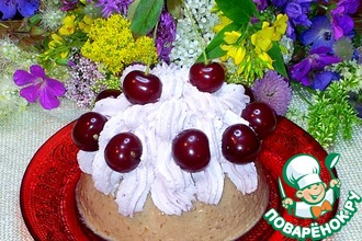 Рецепт: Творожно-сметанный десерт с черешней и сливками