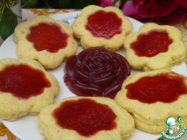 Песочное печенье с ягодным желе