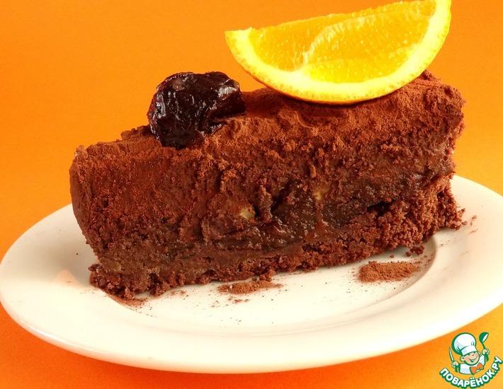 Рецепт: Шоколадный тарт с шоколадным кремом и черносливом