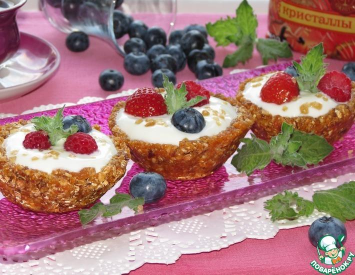 Рецепт: Овсяные корзиночки с ягодами и кристаллами сахара
