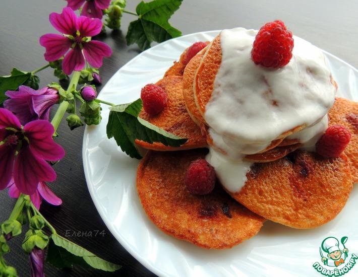 Рецепт: Овсяные оладьи с малиной