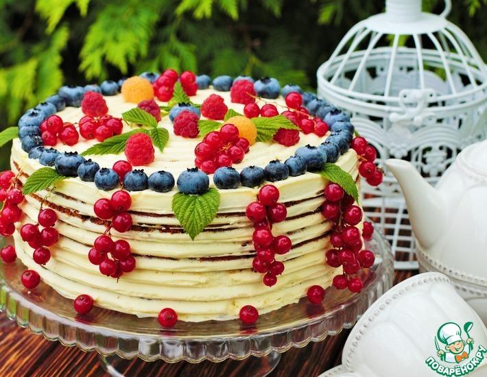 Рецепт: Летний торт с голубикой