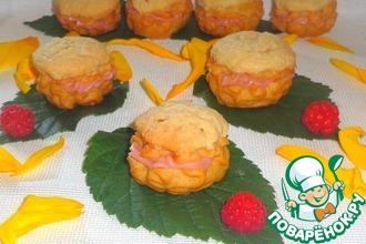 Рецепт: Пирожные с кракелином и малиновым кремом