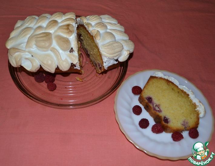 Рецепт: Лимонный пирог Малина под снегом