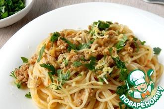 Рецепт: Спагетти в перечно-мясном соусе