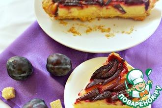 Рецепт: Пирог со сливами и заварным кремом