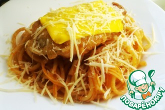 Рецепт: Спагетти с жареной курицей