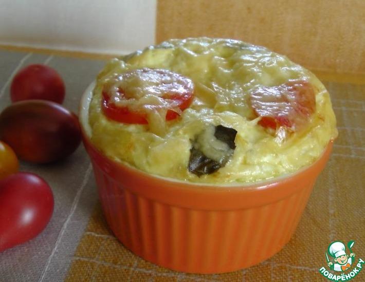 Рецепт: Творожная запеканка с томатами и базиликом