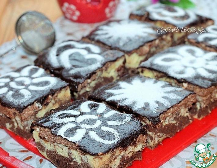 Рецепт: Пирожные с творожно-шоколадным кремом в СВЧ