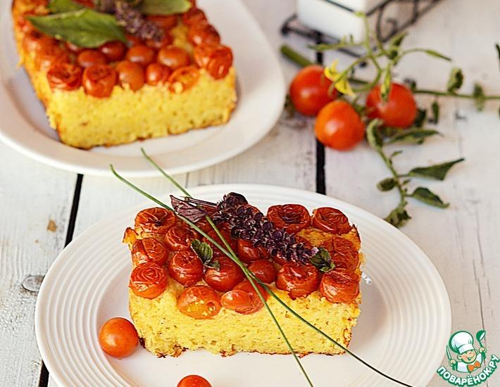 Рецепт: Запеканка с пшенными хлопьями, творогом и помидорами