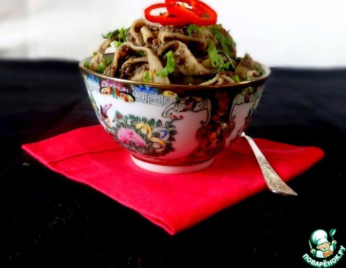 Рецепт: Домашняя гречневая лапша с печенью