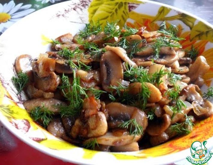 Рецепт: Жареные грибы с луком