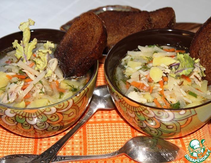 Рецепт: Куриный суп с рисом и кольраби