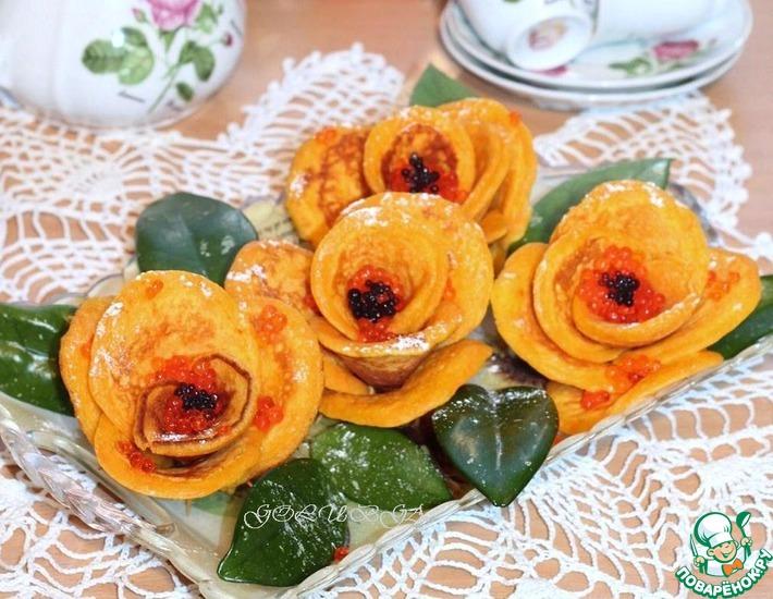 Рецепт: Блинные розы с морковью