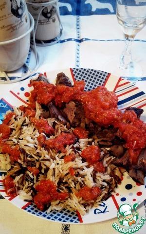 Подавать ребра с рисом и соусом из пюрированных овощей.   Приятного аппетита!