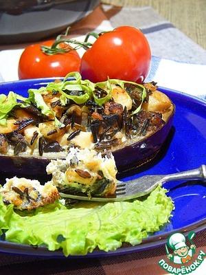 Рецепт Баклажаны, запеченные с рисом, курицей и грибами