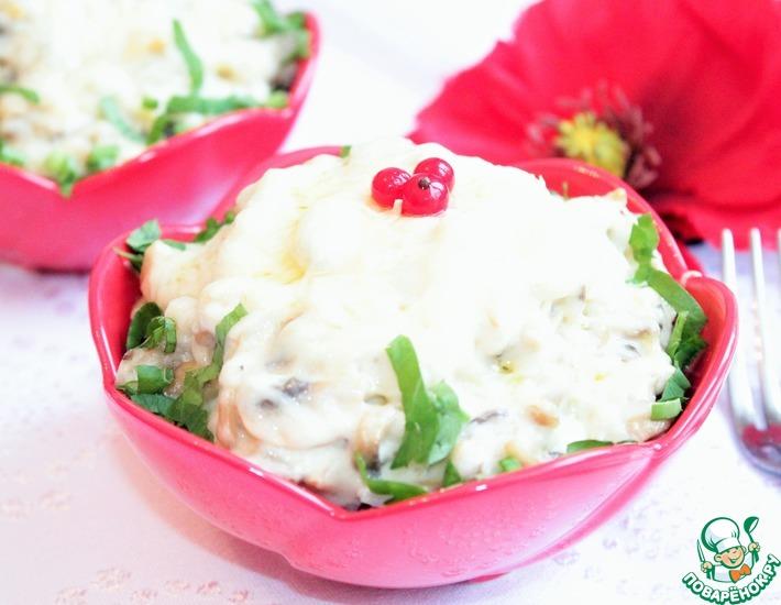 Рецепт: Яйца с рисом, запеченные в грибном соусе