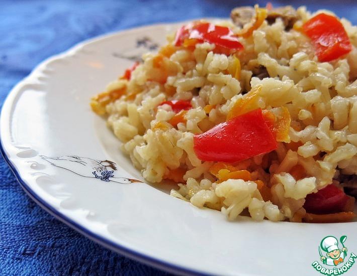 Рецепт: Куриные желудочки с рисом из духовки