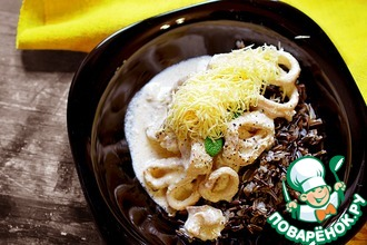 Рецепт: Диетический обед с кальмаром и диким рисом