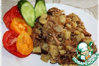 Рецепт: Лисички с картофелем в казане