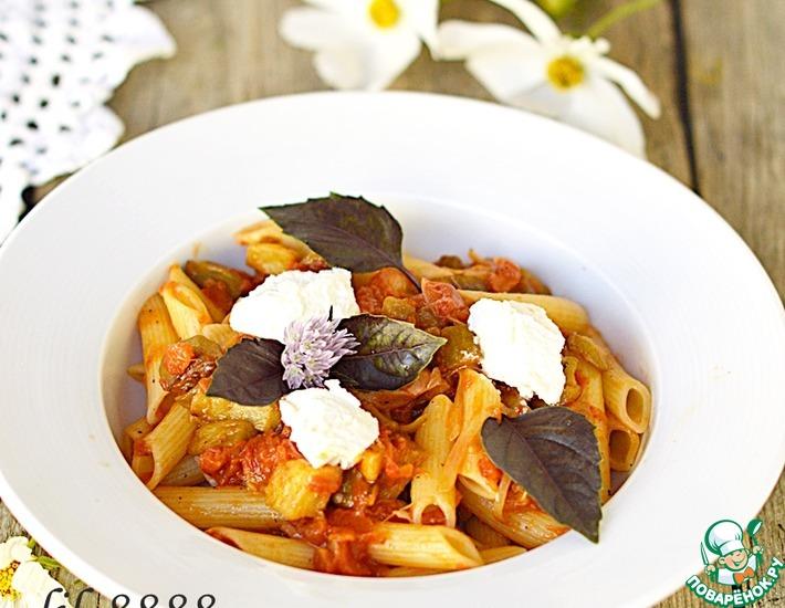Рецепт: Паста с баклажанами, помидорами и рикоттой