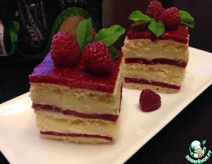 Рецепт: Ванильно-малиновые квадратики