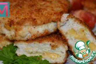 Рецепт: Кабачковые котлетки с куриным филе и сыром