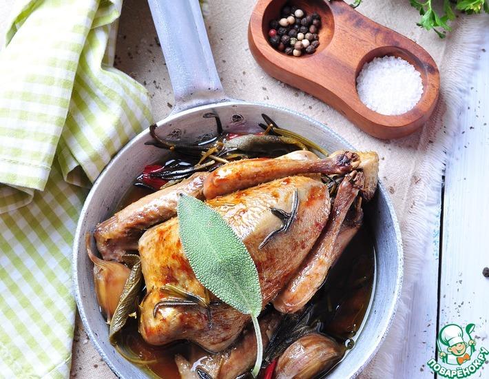 Рецепт: Запеченный голубь и кассуле с грудинкой