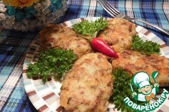 Рецепт: Картофельно–гороховые котлеты с фаршем
