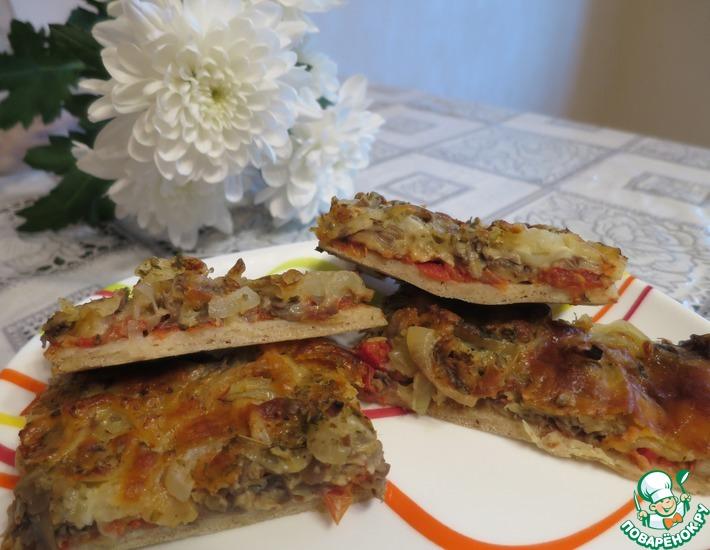 Рецепт: Пицца Шампиньоны в сыре