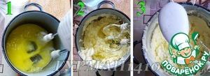 6.Взбиваем миксером желтки с сахаром. Во взбитые желтки постепенно добавляем мягкое сливочное масло и продолжаем взбивать до состояния однородной массы, после чего добавляем сюда соду, гашеную уксусом. Еще несколько секунд размешиваем и убираем миксер. Насадки с миксера обязательно помыть и вытереть насухо (миксер с этими насадками нам скоро понадобится для взбивания белков).
