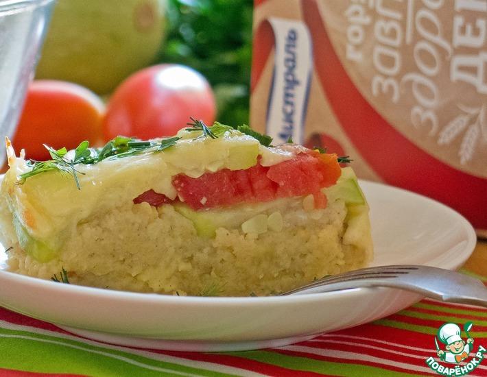 Рецепт: Запеканка из пшенных хлопьев с овощами и сыром