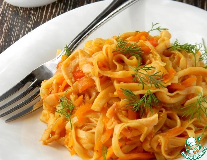 Рецепт: Паста с овощами и кальмарами