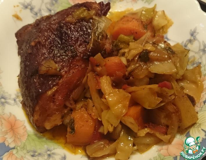 Рецепт: Овощи с копченой курицей в духовке