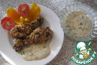 Рецепт: Голень куриная в овсяных хлопьях с сырным соусом