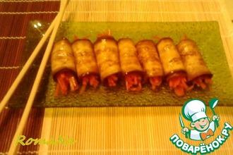 Рецепт: Рулетики из баклажана с морковью по-корейски