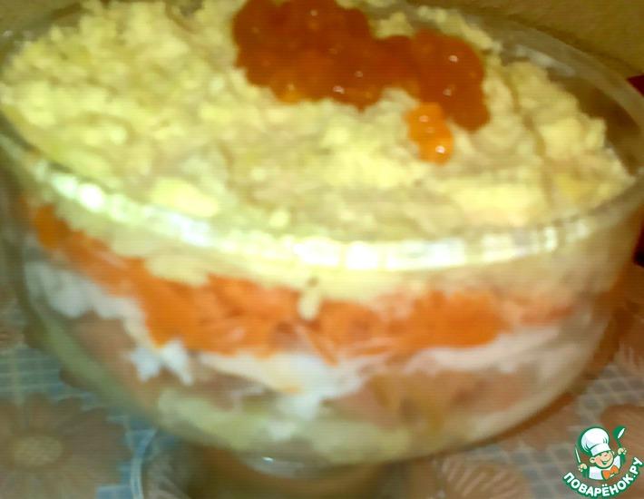Рецепт: Салат с сёмгой и икрой Рыбка в манто